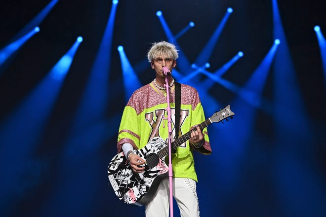 Machine Gun Kelly – seen here performing at the NFL Draft Theatre at the NFL football draft Saturday, May 1, 2021, in Cleveland – will serve as one of Rebel Rock's headliners.