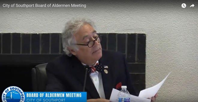 Screenshot showing Mayor Joseph Hatem at the Southport Board of Aldermen meeting, July 8, 2021. The board approved an ordinance regulating short-term rentals.