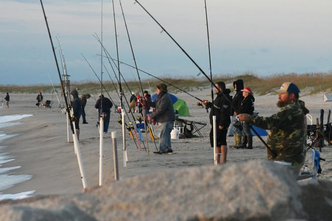 Fishermen line the beach at Fort Fisher in October 2020, at Pleasure Island Surf Fishing Challenge. The competition offered prizes for the heaviest Red Drum TWT, bluefish, trout, pompano, black drum, and sea mullet.