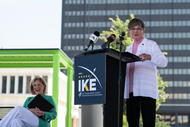 Gov. Laura Kelly announcing eastern Kansas highway improvement projects in Topeka on July 8.