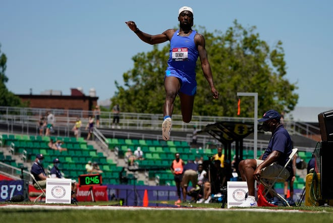 Marquis Dendy competes during the qualifying round for men's long jump at the U.S. Olympic Track and Field Trials Friday, June 25, 2021, in Eugene, Ore.