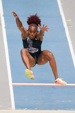 Yanis David leaps to the pit during the women's long jump at the Drake Relays athletics meet, Saturday, April 24, 2021, in Des Moines, Iowa.