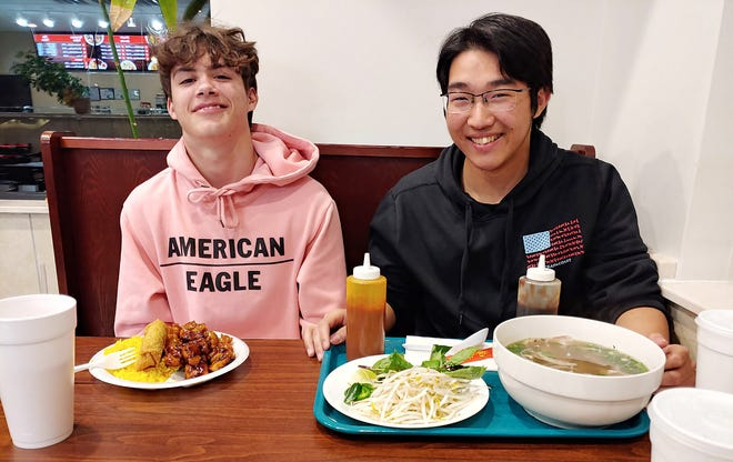 Koby Roberts, left, of The Bahamas and Kei Ohno, of Japan, were exchange students this past school year at Coosa Christian School.