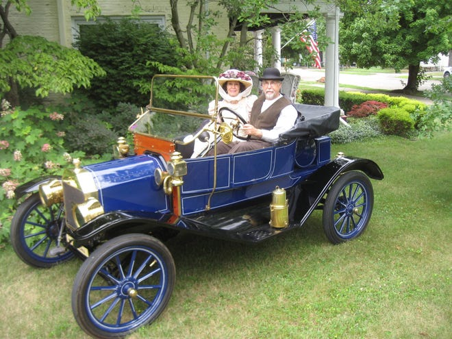 Patti and Tom Strickling of New Philadelphia pose in their 1911 Ford Torpedo runabout. They will be hosting the Model T Ford Club International when the group comes to Tuscarawas County this weekend.