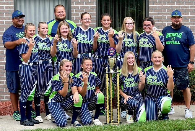 The Lady Rebels '06 Navy are the 2021 Future Stars of Sports World Series Champions after capturing the title last weekend. The team members are: FRONT ROW Rylee Schelkun, Micayela Plants, Ally Kadri, Arieana Wade. MIDDLE ROW Natalie Kerns, Hailey Kerns, Cecilia Espenschied, Kiersten Creighton, Macey Anderson, Zoe Blickensderfer, Mallory Walton BACK ROW Head Coach Tim Plants II, Assistant Coach Kevin Walton, Assistant Coach Zach Espenschied.