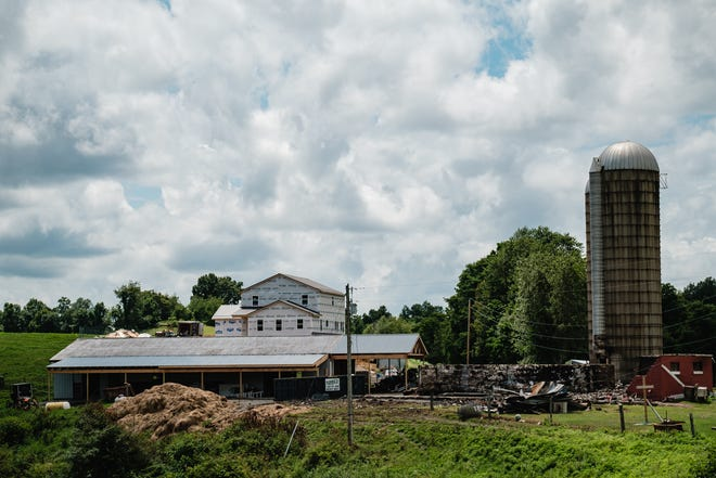 The Amish community is building a new home where a former residence burned July 2 between Tippecanoe and Freeport in Harrison County's Washington Township. TIMES-REPORTER/ANDREW DOLPH
