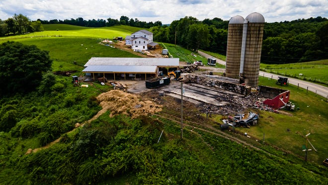 The Amish community is building a new home where the previous residence burned July 2 between Tippecanoe and Freeport in Harrison County's Washington Township. TIMES-REPORTER/ANDREW DOLPH
