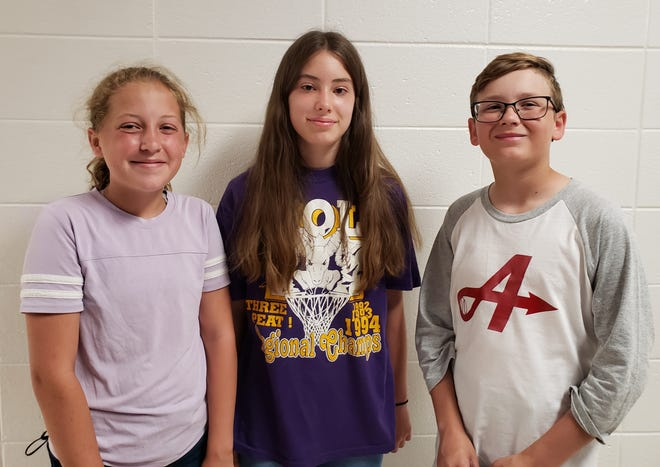 Throop Elementary's sixth grade Top Boy/Girl Awards recipients for 2021 are, from left, Addilyn Payton, Ada McSpadden and Laedon Jones, as well as Barrett Hall, not pictured.