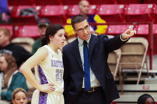 Ryan McAdams, right, is shown during his time spent as women's basketball coach at Eastern Arizona College. McAdams, who recently had served as an assistant at New Mexico State, was named the new coach of the Arkansas-Fort Smith women's basketball team on July 12, 2021.