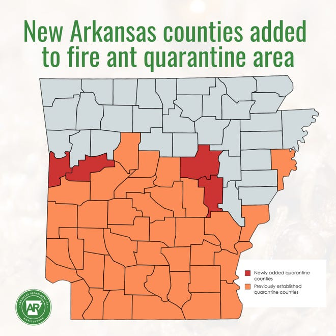 Sebastian, Logan, White and Prairie counties were recently added to the state's fire ant quarantine area.