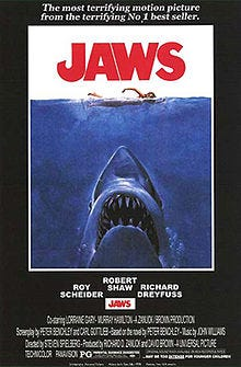 """The movie poster for Steven Spielberg's 1975 summer blockbuster """"Jaws."""""""