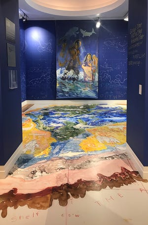 """Scene from """"Landscapes and People of the First Light,"""" an installation at the Cape Cod Museum of Art by artist and National Seashore cartographer Mark Adams. It visualizes how First People encountered a land shaped by geology and oceanography in the millennia before European contact."""