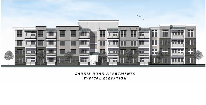 Elevations included with preliminary site plans for a proposed apartment complex on Sardis Road show a typical view of five planned buildings at the 22-acre site.