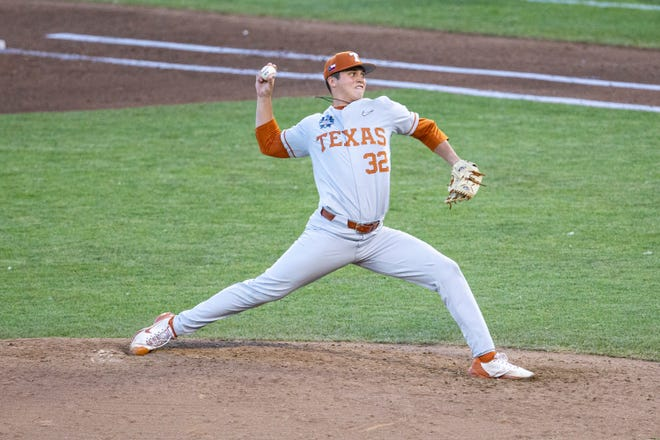 Texas's Ty Madden (32) throws a pitch against Mississippi State in the fifth inning during a baseball game in the College World Series Friday June 25, 2021, at TD Ameritrade Park in Omaha, Neb.