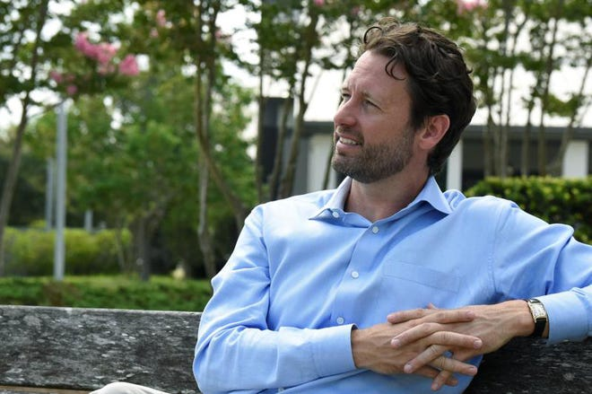 Former U.S. Rep. Joe Cunningham talks during an interview with the Associated Press about his campaign for South Carolina governor on July 10, 2021 in Mount Pleasant, S.C. (Meg Kinnard/Associated Press Photo)