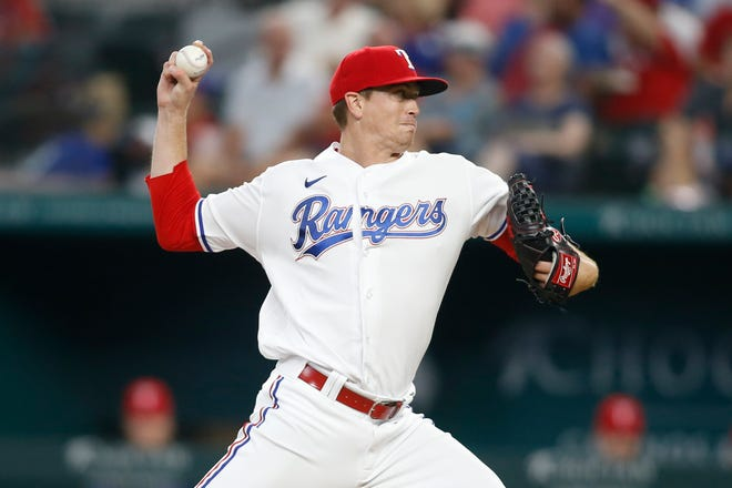 Jul 7, 2021; Arlington, Texas, USA; Texas Rangers starting pitcher Kyle Gibson (44) throws a pitch in the fourth inning against the Detroit Tigers at Globe Life Field. Mandatory Credit: Tim Heitman-USA TODAY Sports