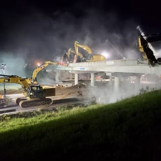 What was the bridge with the southbound lanes of the Campbell Street bridge over Interstate 40 was demolished over the weekend as the project to widen the highway continued.