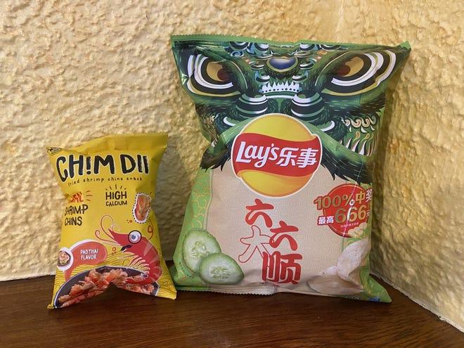 Pour l'influence chinoise, essayez du Chim Dii aromatisé Pad Thai et des chips (oui Lay's) aromatisées au concombre: