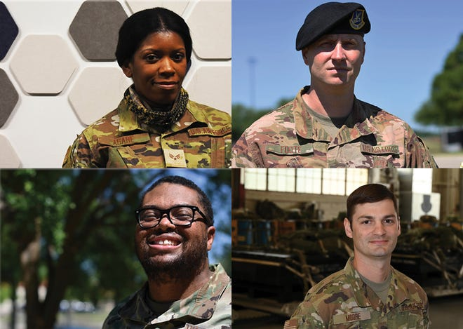 Members of the 908th are, clockwise from top left, Senior Airman Tamela Asare, Master Sgt. Christopher Foote, Master Sgt. Neal Moore, and Master Sgt. Randy Stephens.