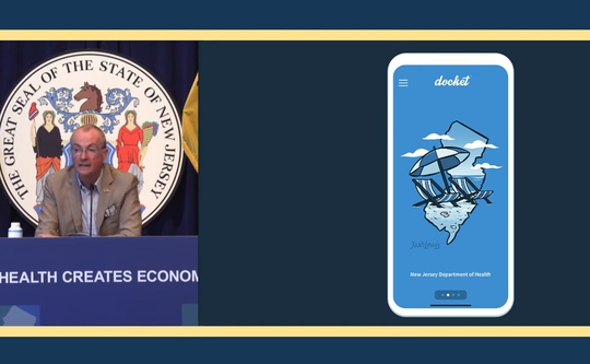 Gov. Phil Murphy announces that the state will start providing residents access to their COVID vaccination records through a phone app called Docket.