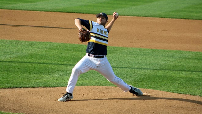 Dalton Lehnen pitches for Augustana in 2017. He was drafted by the New York Yankees later that year and recently registered 20 strikeouts in seven innings of work for the Dell Rapids Mudcats.