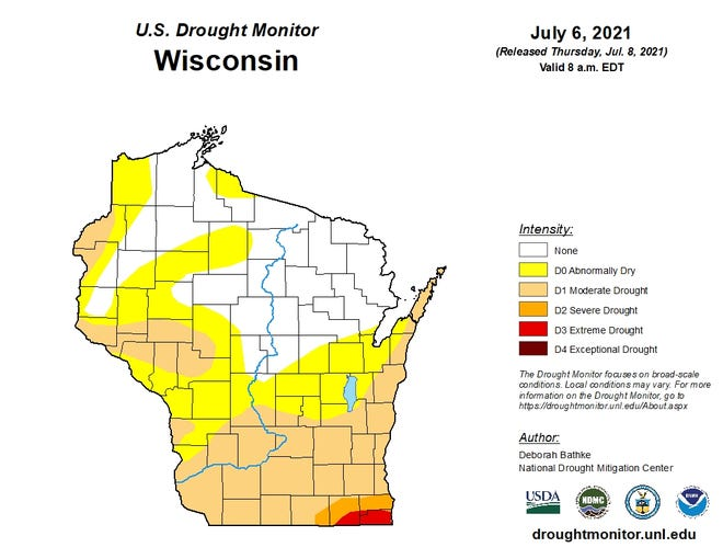 According to the U.S. Drought Monitor, farmers in Racine, Walworth and Kenosha counties will be able to apply for emergency credit after suffering an impact from this year's drought.