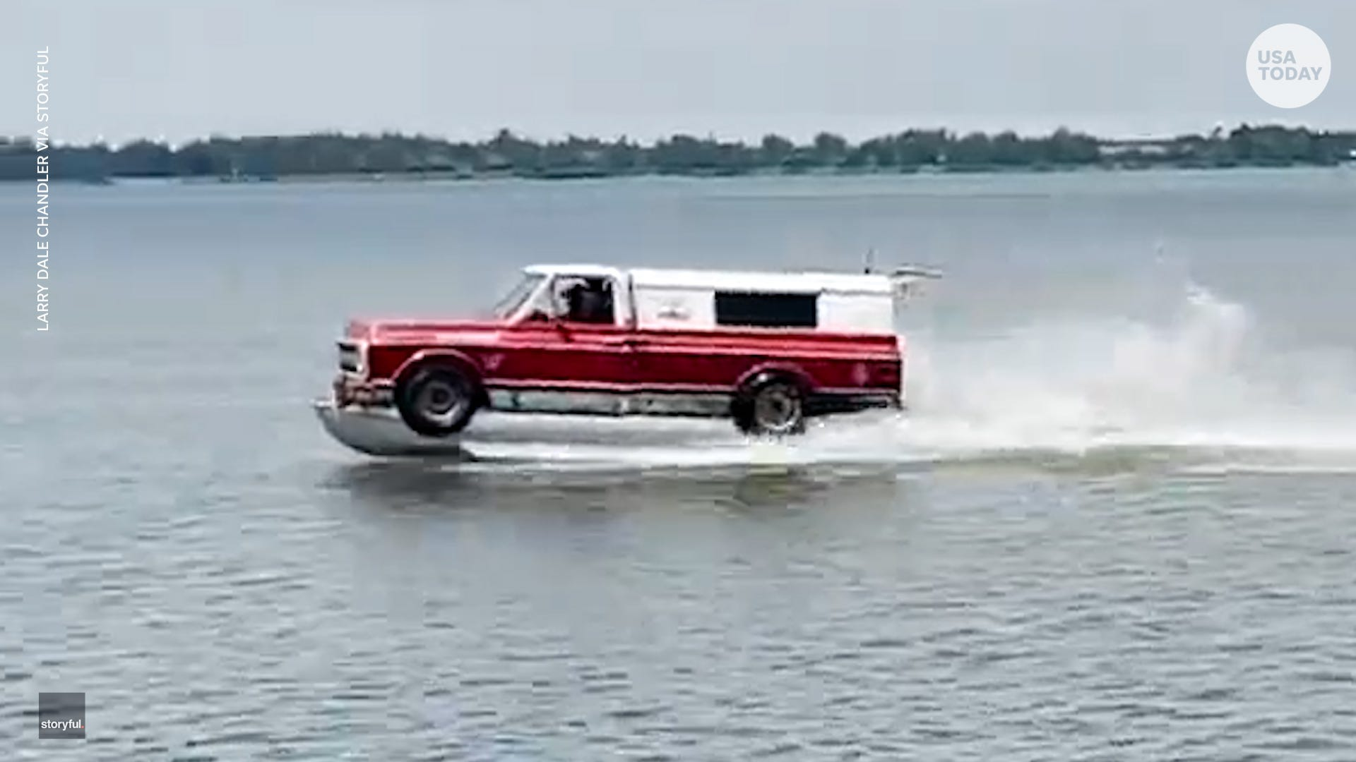 Boat that looks exactly like a pickup truck drives across water