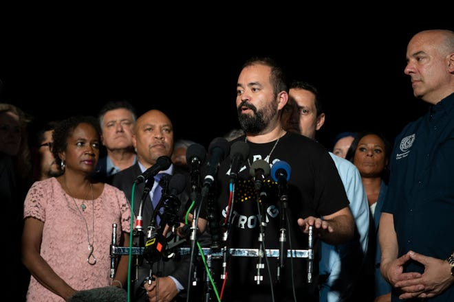 State Rep. Joe Moody speaks at a press conference as Democrats from the Texas State House arrive at Dulles Airport in Sterling, Va., on July 13, after leaving Texas on Monday to derail GOP plans to pass sweeping changes to election and voting laws.
