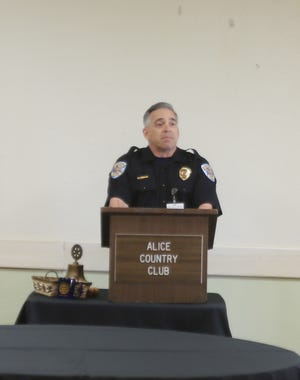 Alice Police Chief Eden Garcia makes presentation at Rotary Club of Alice on Wednesday, July 7.