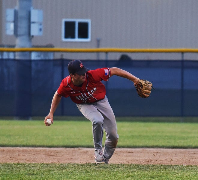 Ballard second baseman Connor Finch starts to make a throw to first after fielding a grounder during the Bombers' 7-0 loss to North Polk July 5 at Nite Hawk Field in Slater. The Bombers finished 12-6 in the Raccoon River Conference.