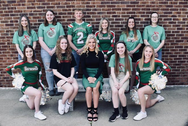 Several Barnesville High Schoolstudents are participating in the OVAC Rudy Mumley All-star Football game on Saturday. Those taking part include, l to r, front row,Cheer, Emma Wharton;band, Willow Wade; Queen of Queens, Alana Trigg;Band, Codi Andrews;Cheer, Grace Detling; and back row,Band, Anna Sells; Band, Jeannie Chance;Football, Ayden Hannahs;Cheer, Olivia Starr;Band, Isabella Street; andBand, Lacee Carpenter.