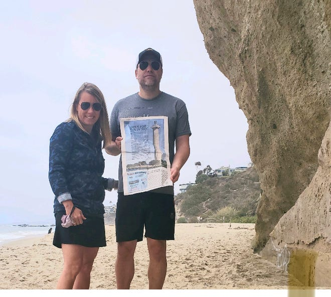 CALIFORNIA Tara and Justin Thompson of Columbus visit Laguna Beach, California. The couple says to be sure to explore all of the unique beaches, coves and parks along the coast of Orange County.