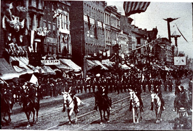 More than 50,000 Union Army veterans march down Broad Street during the Grand Army of the Republic parade Sept. 9, 1888. More than 100,000 people watched the parade, which lasted 4 hours and 45 minutes.