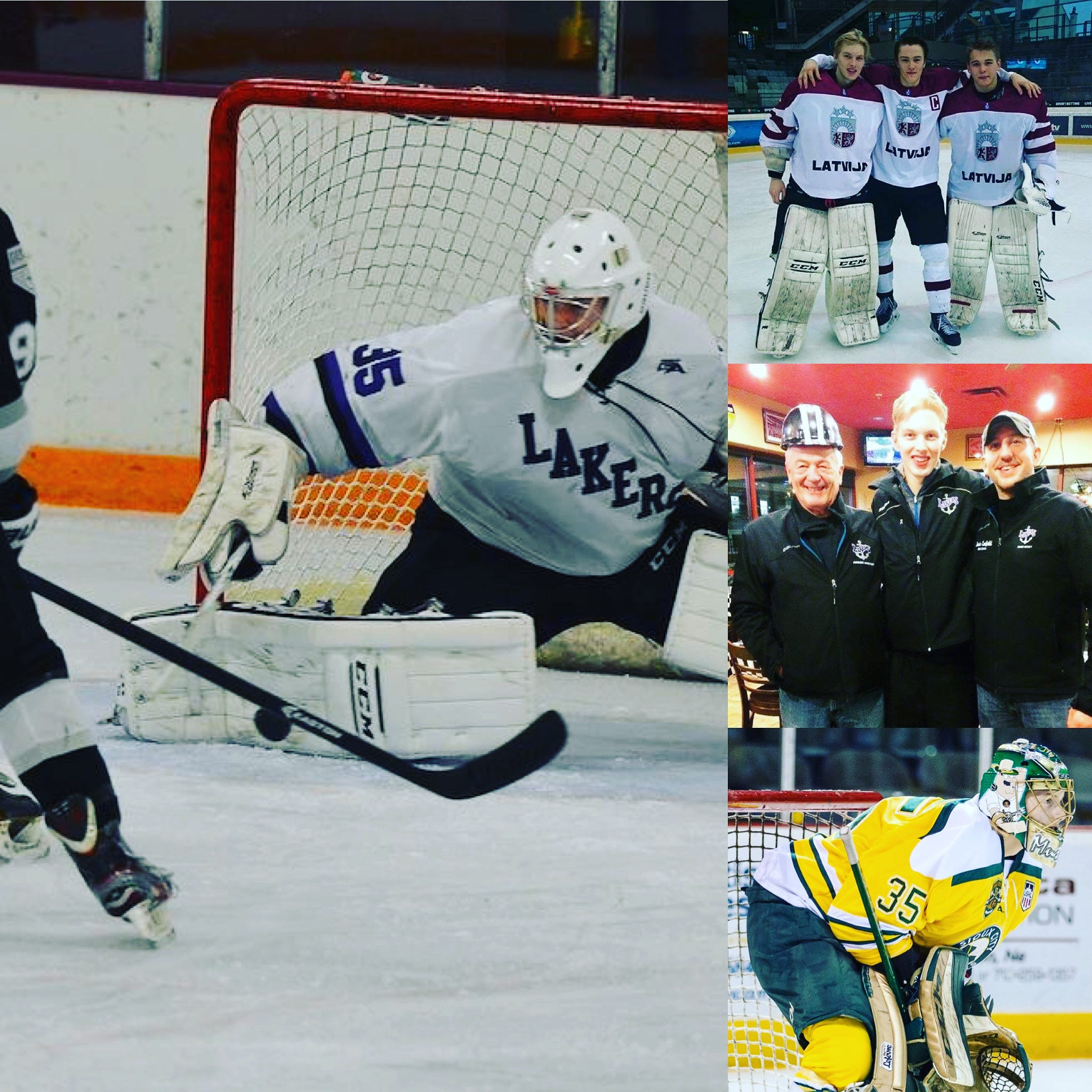 Matiss Kivlenieks (35) started out in the U.S. junior ranks playing Tier III with the Forest Lake Lakers, coached by Dennis Canfield (middle photo to the right of Kivlenieks).