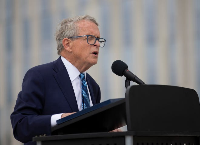 Gov. Mike DeWine speaks during ceremony for the opening of the Fulton Street on ramp to I-70 eastbound Downtown on Tuesday, July 13, 2021. The ramp is part of ODOT's $1.4 billion Downtown Ramp Up project to rebuild the I-70/71 interchange in Columbus.