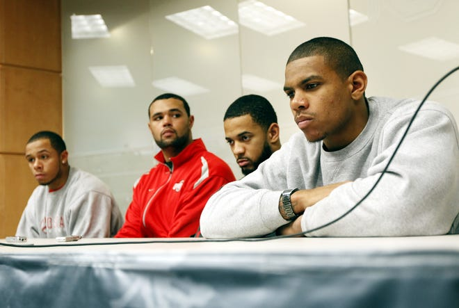 Ohio State football players (from left) DeVier Posey, Mike Adams, Boom Herron, Terrelle Pryor were suspended by the NCAA  for selling rings, jerseys and awards and receiving improper benefits from a tattoo parlor.