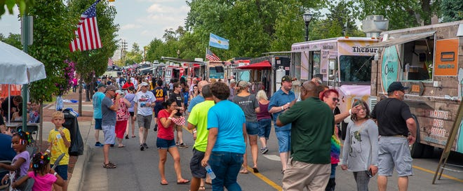 This is a scene from the 2019 Whitehall Food Truck & Fun Fest. The festival was canceled last year because of the COVID-19 coronavirus pandemic. It is returning for 2021 from 11 a.m. to 10 p.m. July 31 along South Yearling Road.