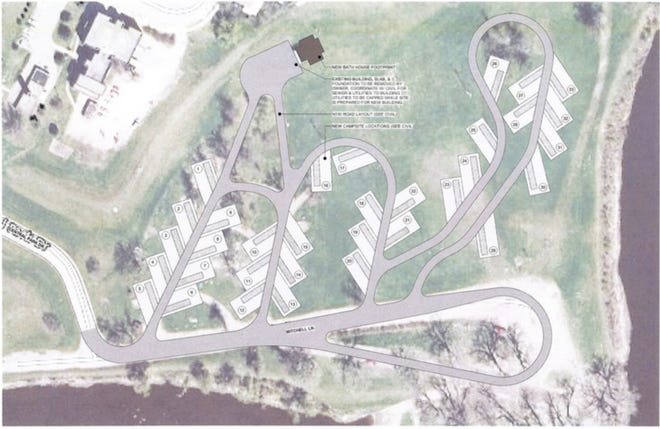 Widseth's site plan for a 33-slot RV campground in Central Park equipped with a new bathhouse and full-service campsite hook-ups