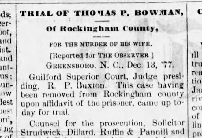 Newspaper clipping of article on Thomas P. Bowman trial