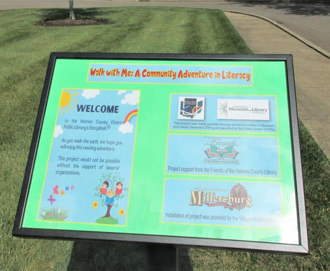 A community adventure in literacy is the theme of the Holmes County District Public Library's StoryWalk along the hiking path at Deer Run Park in Millersburg.  The StoryWalk boards were procured by the library through a grant and installed by the Millersburg Street Department.