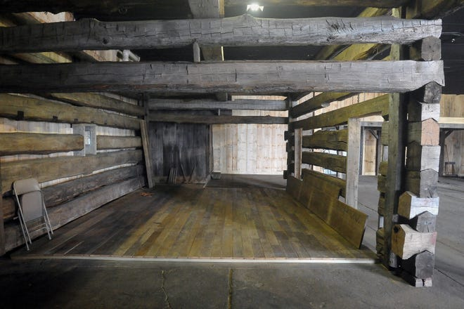A section of the completed log barn built inside the Ag Museum near the fairgrounds.