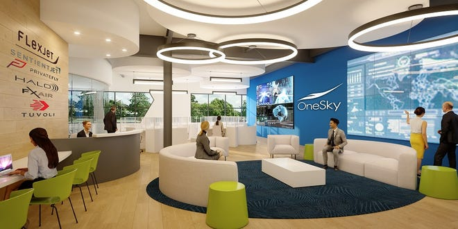 An illustration shows the OneSky Flight Innovation Center's expansion of space and student programming at Embry-Riddle's Research Park.