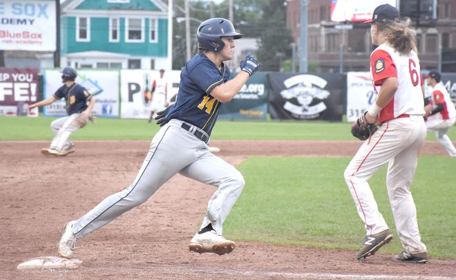 Ilion Post's Hudson Albrecht (14) rounds third base and heads for home during the seventh inning of Monday's District V American Legion playoff game against Utica Post.
