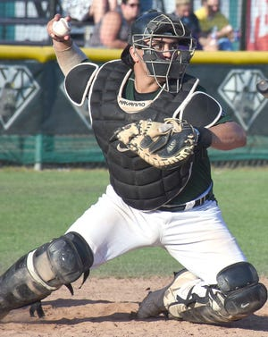 Mohawk Valley DiamondDawgs catcher CJ Rodriguez prepares a throw against the Glens Falls Dragons during a July 13, 2019, Perfect Game Collegiate Baseball League game in Little Falls. The Vanderbilt University catcher was drafted Monday by the Oakland Athletics.