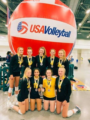 West Burlington's Sohia Armstrong (back row, second from left) and Notre Dame's Gabby Deery (back row, center) played on a club team which finished second in the 16U national tournament last week in Las Vegas, Nevada.