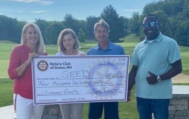 Seacoast Endowment for Education in Dover recently accepted a $4,159 donation from The Rotary Club of Dover to help fund two literacy grants in Dover public schools. From left to right are Sue Vitko of SEED, Noreen Biehl of the Rotary Club of Dover, Pat Duffy of SEED and Markus Brave of SEED.