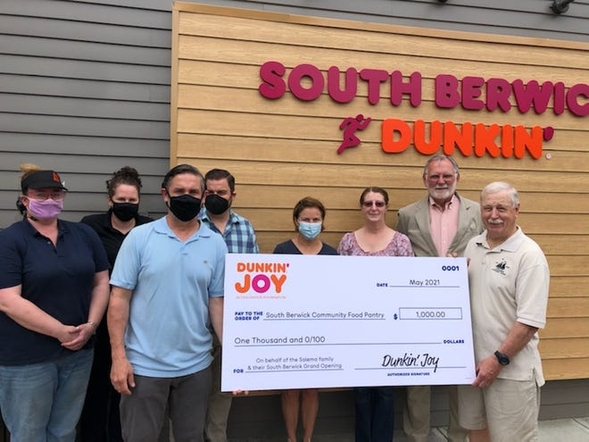 Local Dunkin' Franchisee Durval Salema recently made a donation of $1,000 to the South Berwick Community Food Pantry. Pictured, left to right, are Dunkin' Manager Jodi Allen, Dunkin' General Manager Sarah Chase, Dunkin' Franchisee Durval Salema, Dunkin' Franchisee Shawn Salema, South Berwick Town Council member Abigail Kemble, South Berwick Town Clerk Barbara Bennett, South Berwick Town Council Chair John Kareckas, and South Berwick Community Food Pantry representative David Stansfield.