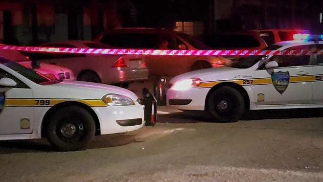 Jacksonville Sheriff's Office cruisers are at a recent homicide scene.