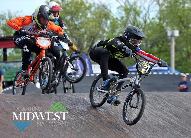 Nolan Cardwell and Charlie Biggs competing in the Rockford BMX Midwest Nationals. This is one of the races that qualified them to compete in the upcoming BMX World Championships in Papendal, The Netherlands.