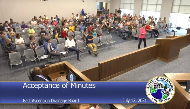 A crowd of citizens attended the East Ascension Drainage meeting held July 12.
